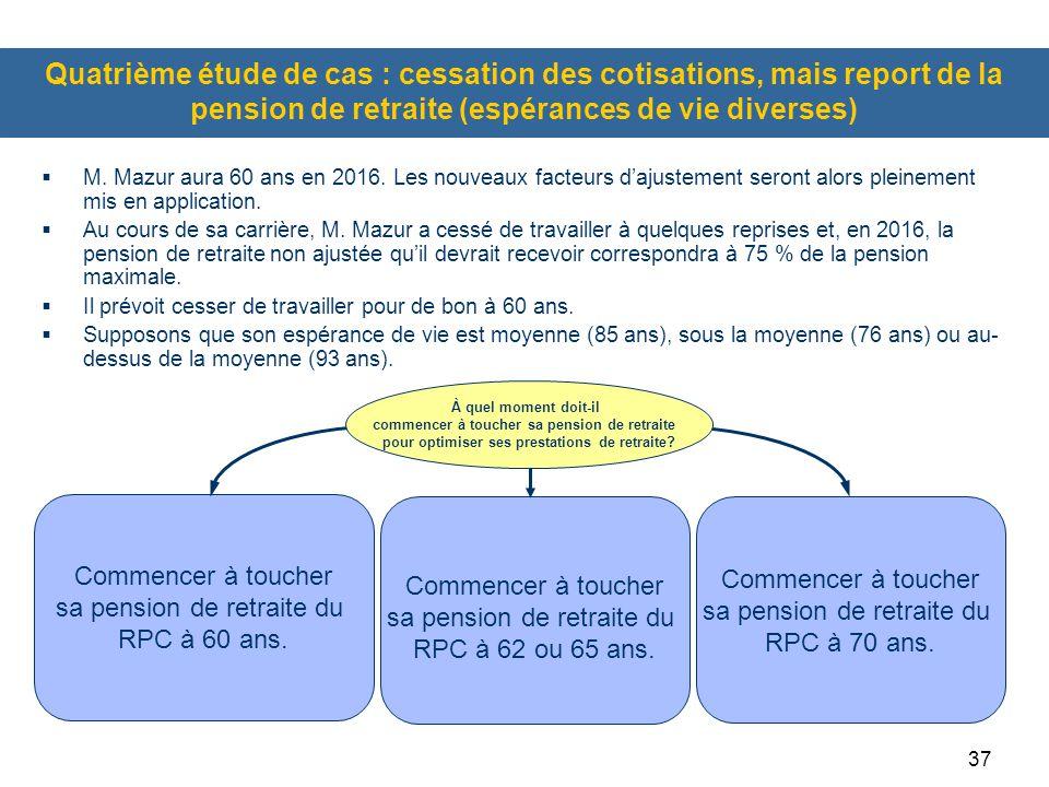 37 Quatrième étude de cas : cessation des cotisations, mais report de la pension de retraite (espérances de vie diverses)  M. Mazur aura 60 ans en 20