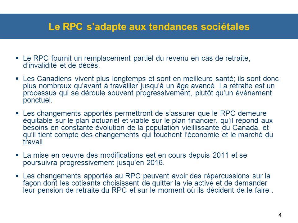 4 Le RPC s'adapte aux tendances sociétales  Le RPC fournit un remplacement partiel du revenu en cas de retraite, d'invalidité et de décès.  Les Cana