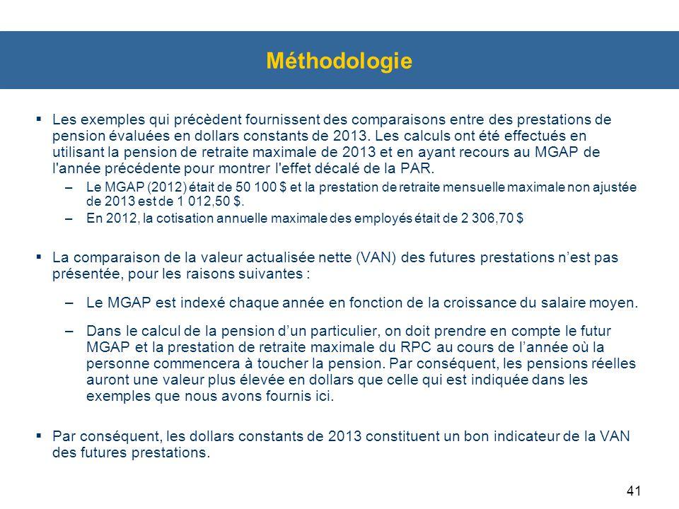 41 Méthodologie  Les exemples qui précèdent fournissent des comparaisons entre des prestations de pension évaluées en dollars constants de 2013.