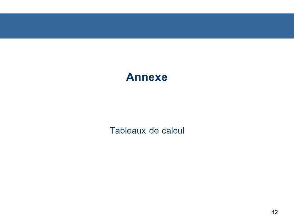 42 Annexe Tableaux de calcul