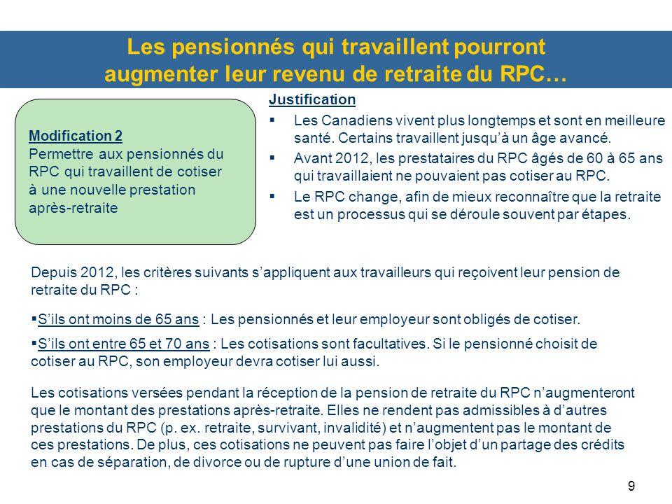 9 Les pensionnés qui travaillent pourront augmenter leur revenu de retraite du RPC… Depuis 2012, les critères suivants s'appliquent aux travailleurs qui reçoivent leur pension de retraite du RPC :  S'ils ont moins de 65 ans : Les pensionnés et leur employeur sont obligés de cotiser.
