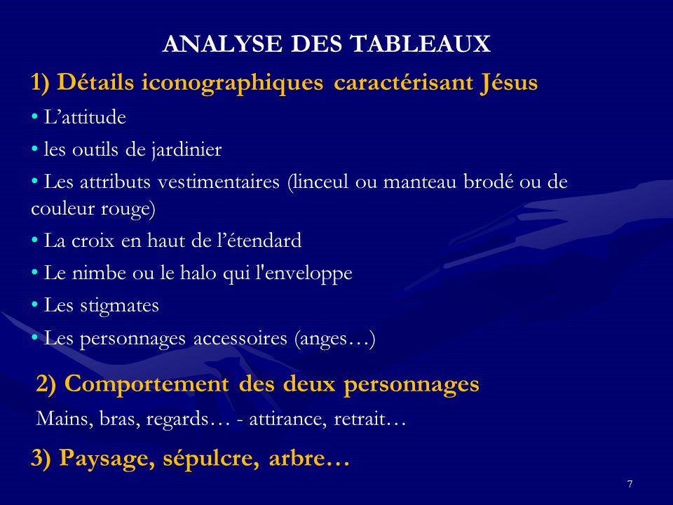 7 ANALYSE DES TABLEAUX 1) Détails iconographiques caractérisant Jésus L'attitude les outils de jardinier Les attributs vestimentaires (linceul ou mant