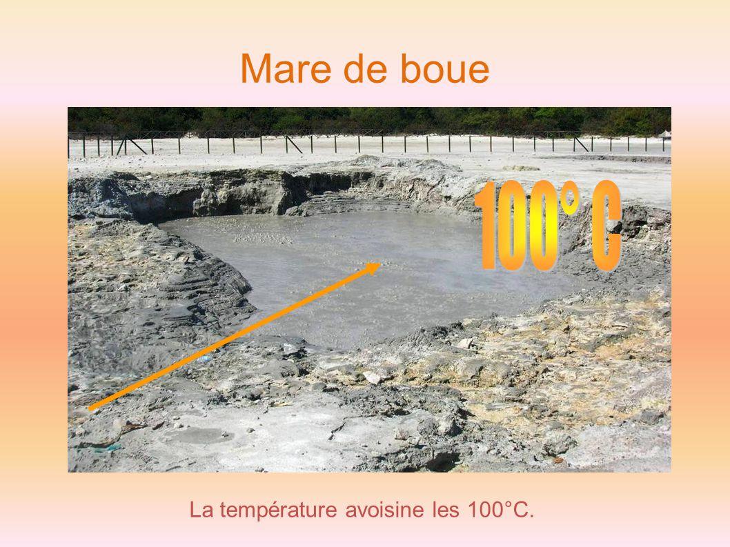 Mare de boue La température avoisine les 100°C.