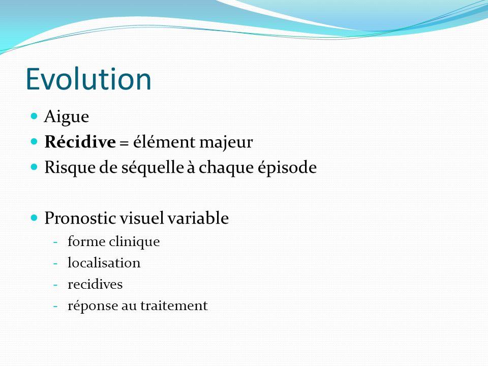 Evolution Aigue Récidive = élément majeur Risque de séquelle à chaque épisode Pronostic visuel variable - forme clinique - localisation - recidives -