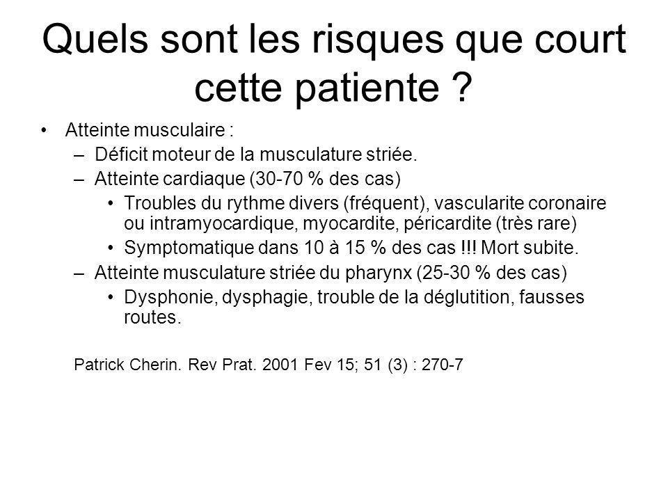 Quels sont les risques que court cette patiente ? Atteinte musculaire : –Déficit moteur de la musculature striée. –Atteinte cardiaque (30-70 % des cas