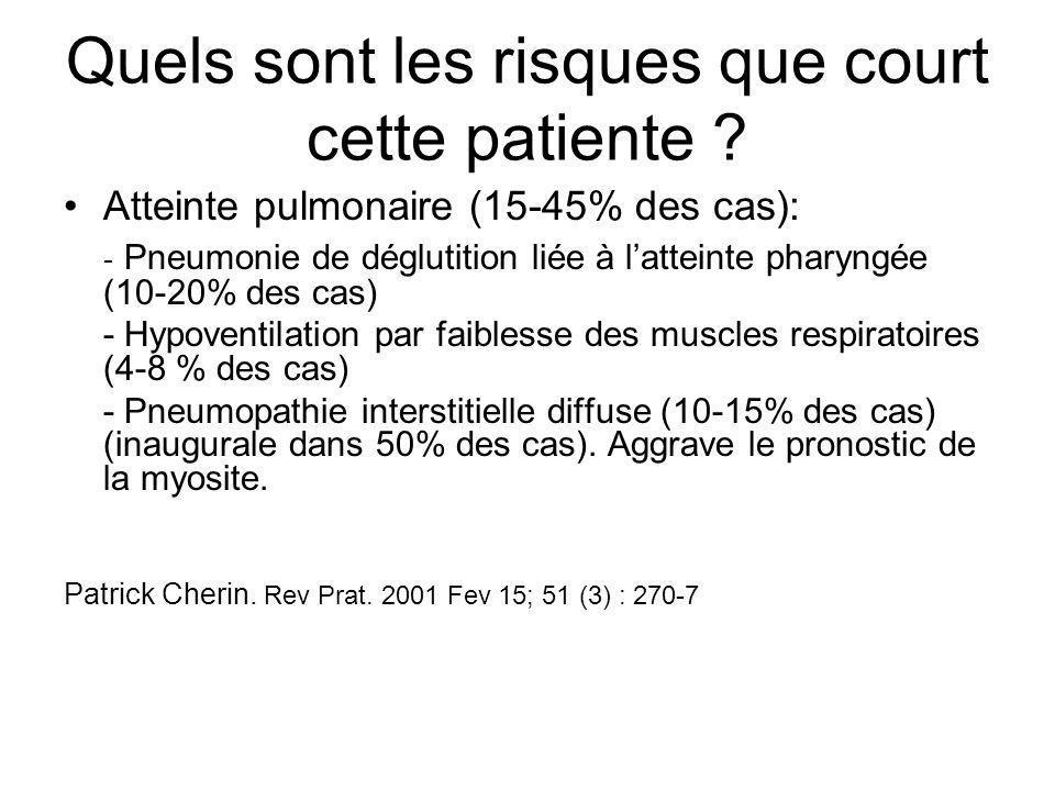 Quels sont les risques que court cette patiente ? Atteinte pulmonaire (15-45% des cas): - Pneumonie de déglutition liée à l'atteinte pharyngée (10-20%