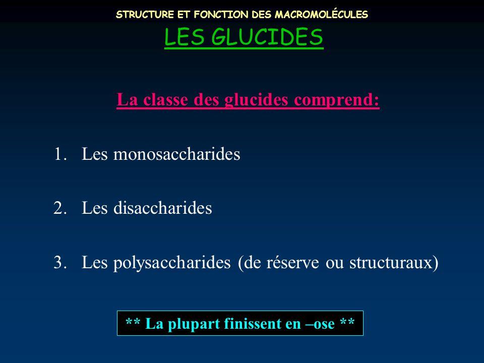 STRUCTURE ET FONCTION DES MACROMOLÉCULES LES GLUCIDES La classe des glucides comprend: 1.Les monosaccharides 2.Les disaccharides 3.Les polysaccharides (de réserve ou structuraux) ** La plupart finissent en –ose **