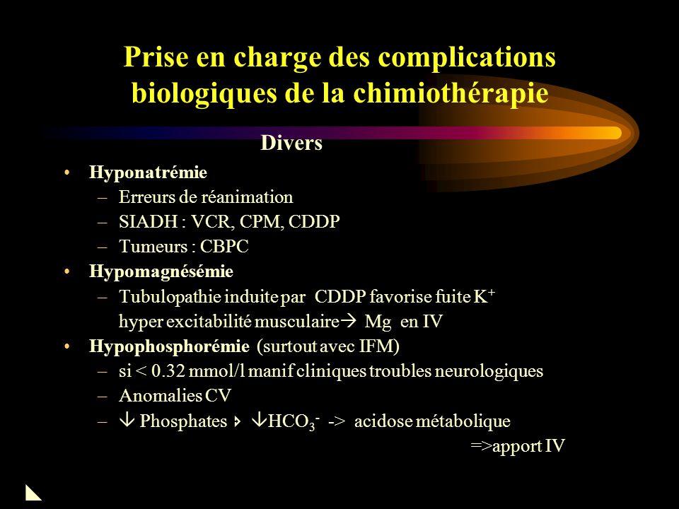 Prise en charge des complications biologiques de la chimiothérapie Busulfan : syndrome addissonien STZ : hyperglycémies L-ASP : chute insulinémie, DID Complications endocriniennes 