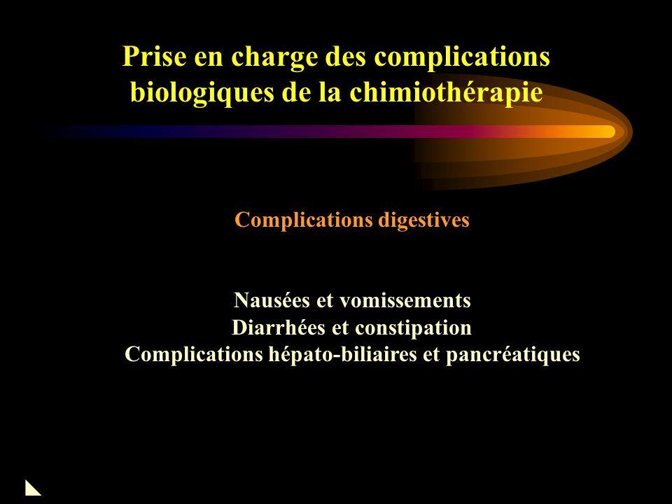 Prise en charge des complications biologiques de la chimiothérapie Hyponatrémie –Erreurs de réanimation –SIADH : VCR, CPM, CDDP –Tumeurs : CBPC Hypomagnésémie –Tubulopathie induite par CDDP favorise fuite K + hyper excitabilité musculaire  Mg en IV Hypophosphorémie (surtout avec IFM) –si < 0.32 mmol/l manif cliniques troubles neurologiques –Anomalies CV –  Phosphates   HCO 3 - -> acidose métabolique =>apport IV Divers 