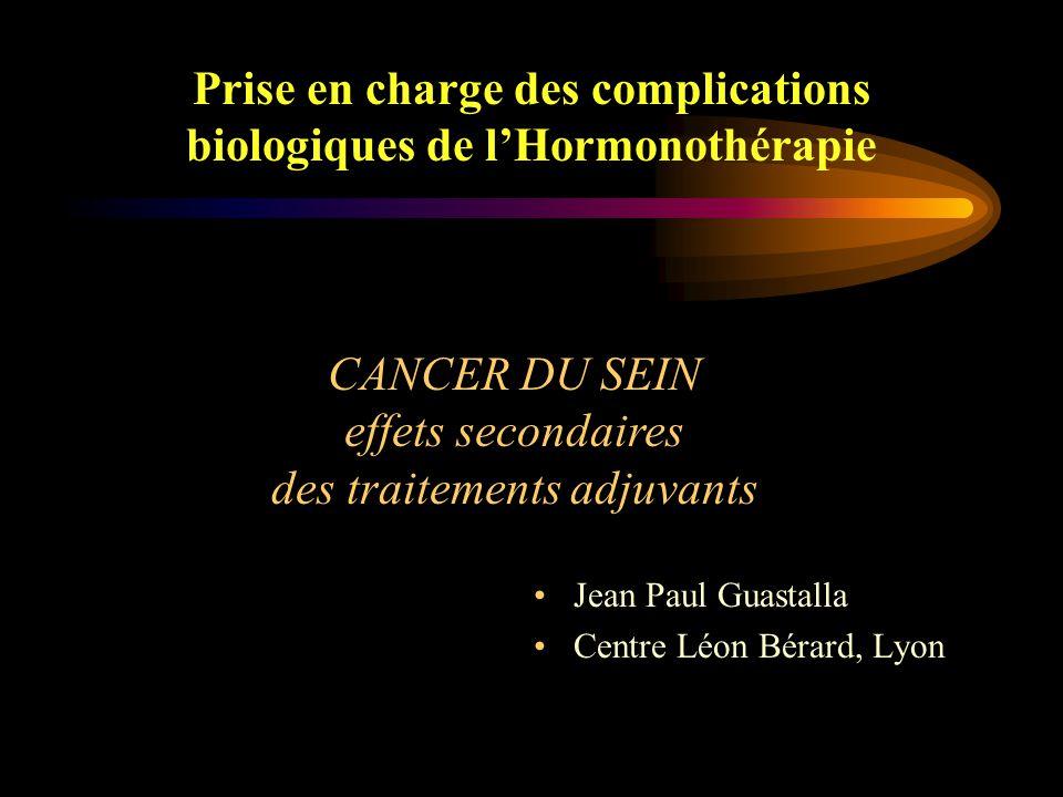Prise en charge des complications biologiques de l'Hormonothérapie Anti-oestrogènes Oestrogènes Anti-aromatases Progestatifs Androgènes Corticoïdes