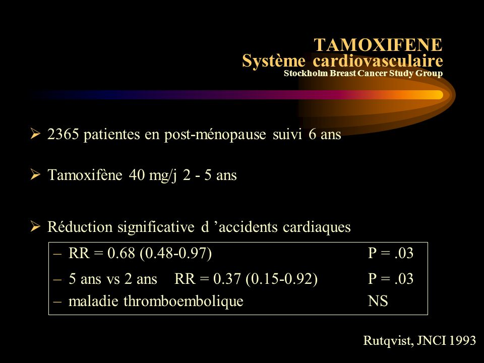 TAMOXIFENE Système cardiovasculaire Scottish Cancer Trials Breast Group  1312 pts  Tamoxifène 20 mg/j 5 ans  Groupe Contrôle plus d ' infarctus myo