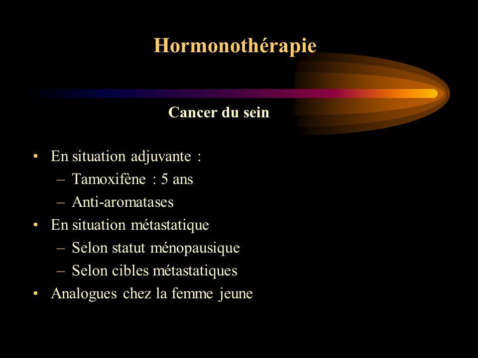 Hormonothérapie Suppressive –Castration chirurgicale : ovariectomie –Radiothérapique –Chimique : analogues LH-RH Additive –Anti-oestrogènes : Tamoxifène –Anti-aromatases : Anastrozole, Létrozole, Exémestane –Progestatifs Cancer du sein