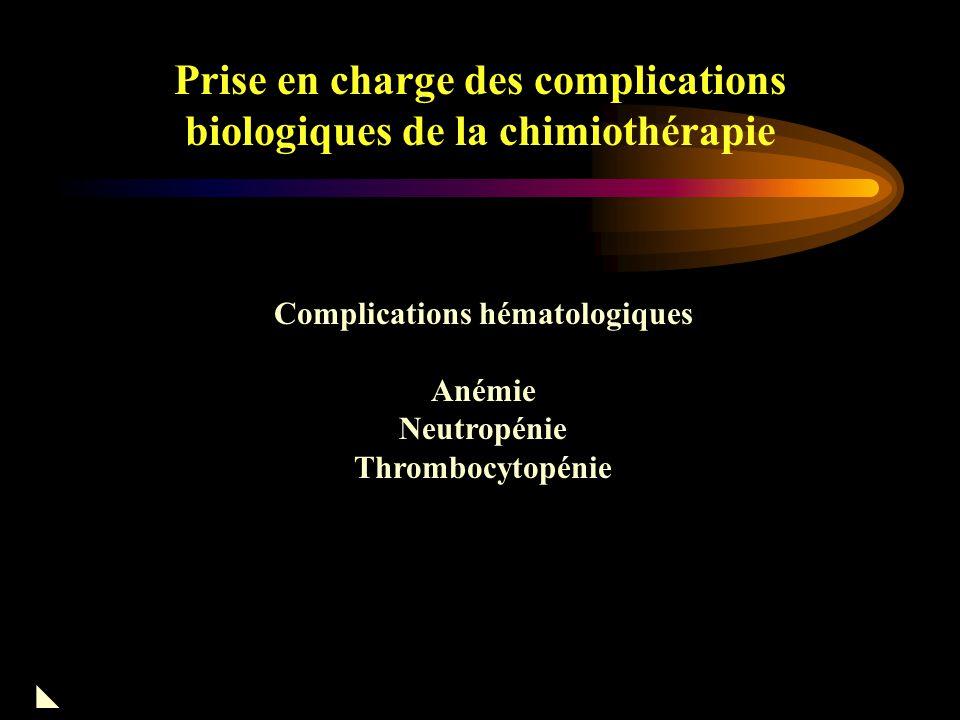 Prise en charge des complications biologiques de la chimiothérapie Classification OMS de la Toxicité des cytotoxiques HématoHb PNN Pl RénaleCreat Protéinurie Hématurie Gastro-IntestinaleASAT-ALAT Ph.