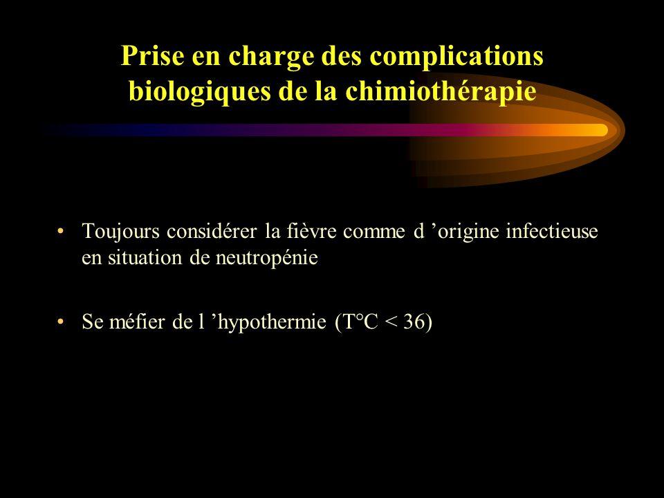 Prise en charge des complications biologiques de la chimiothérapie Neutropénie fébrile (NF) : une seule détermination > 38.3°C ( en pratique 38.5 ) deux déterminations ou plus > 38°C sur un période de 12 heures Quelques généralités