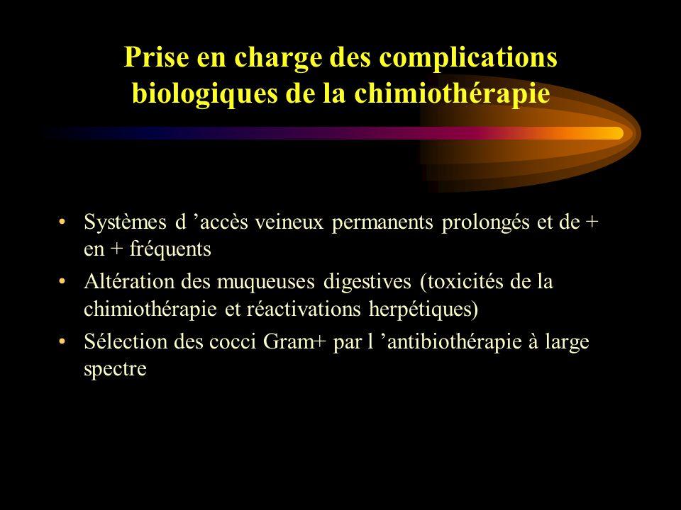 Prise en charge des complications biologiques de la chimiothérapie Fréquence des portes d'entrées veineuses (33.3%) et digestives (12.7%) Absence de porte d 'entrée identifiée dans 32.2% Escande et al, Support Care Cancer1998; 6:273-80