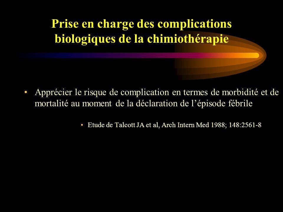 Prise en charge des complications biologiques de la chimiothérapie Prédire le risque de l 'apparition d 'une neutropénie fébrile au moment de la prescription de la chimiothérapie Corrélation très significative avec l 'intensité de dose de chimiothérapie (CTE) reçue et le taux de lymphocytes < 700 à J5 de la CTE Blay JY, Le Cesne A et al, Presse Med 2000;29:2004-8
