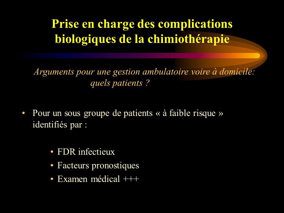 Prise en charge des complications biologiques de la chimiothérapie Améliorer la qualité de vie des patients Diminuer le risque d 'infections nosocomiales inhérent aux hospitalisations itératives Diminuer le coût de la prise en charge Arguments pour une gestion ambulatoire voire à domicile