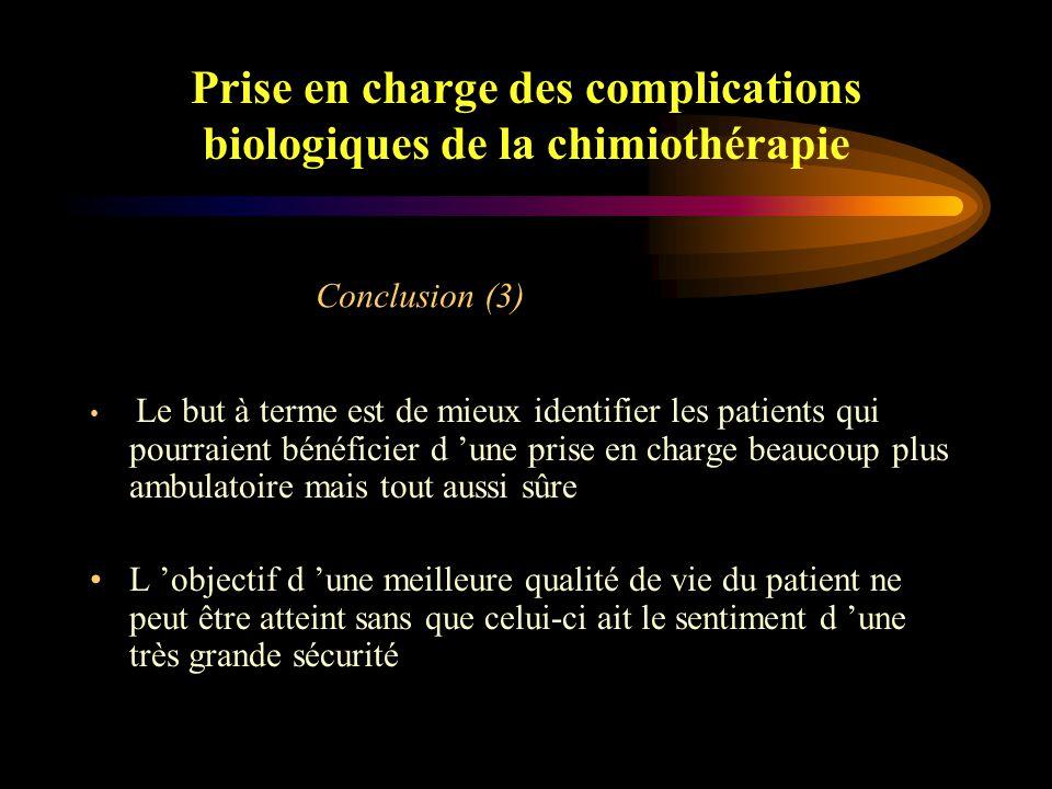 Prise en charge des complications biologiques de la chimiothérapie Renforcer l 'information auprès du patient Collaboration active entre les différents intervenants Conclusion (2)