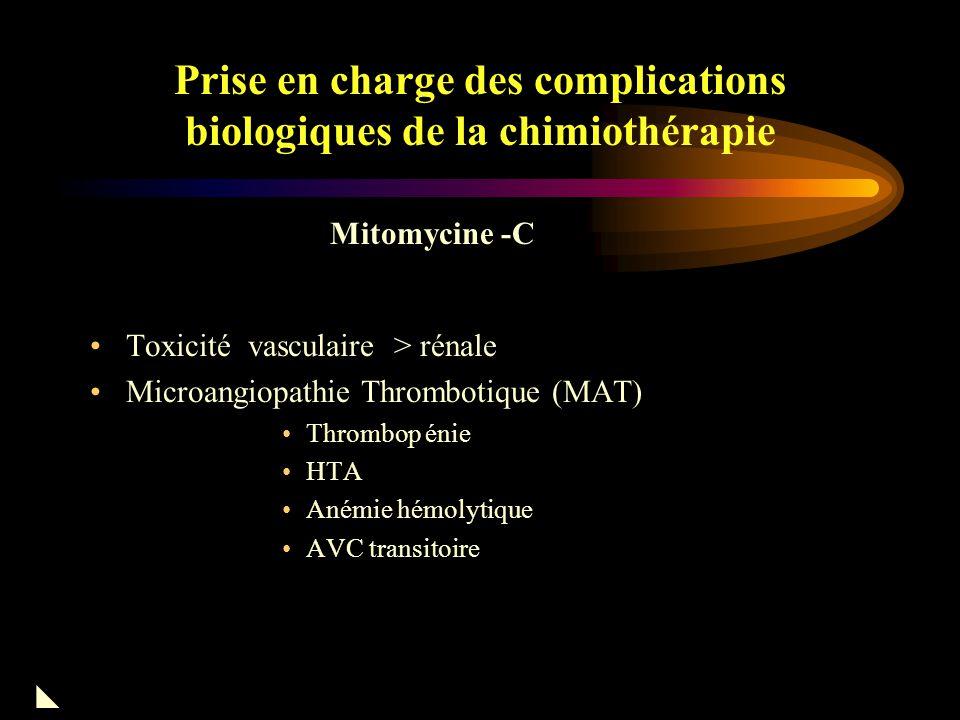 Prise en charge des complications biologiques de la chimiothérapie STZ : néphrite tubulo-intersticielle avec atrophie tubulaire Lomustine : fibrose rénale Néphropathies cytotoxiques : Nitroso-urée
