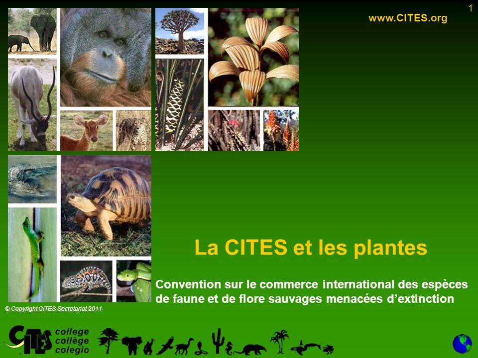 1 La CITES et les plantes www.CITES.org © Copyright CITES Secretariat 2011 Convention sur le commerce international des espèces de faune et de flore s