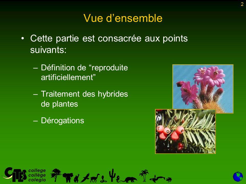 """2 Vue d'ensemble Cette partie est consacrée aux points suivants: –Définition de """"reproduite artificiellement"""" –Traitement des hybrides de plantes –Dér"""