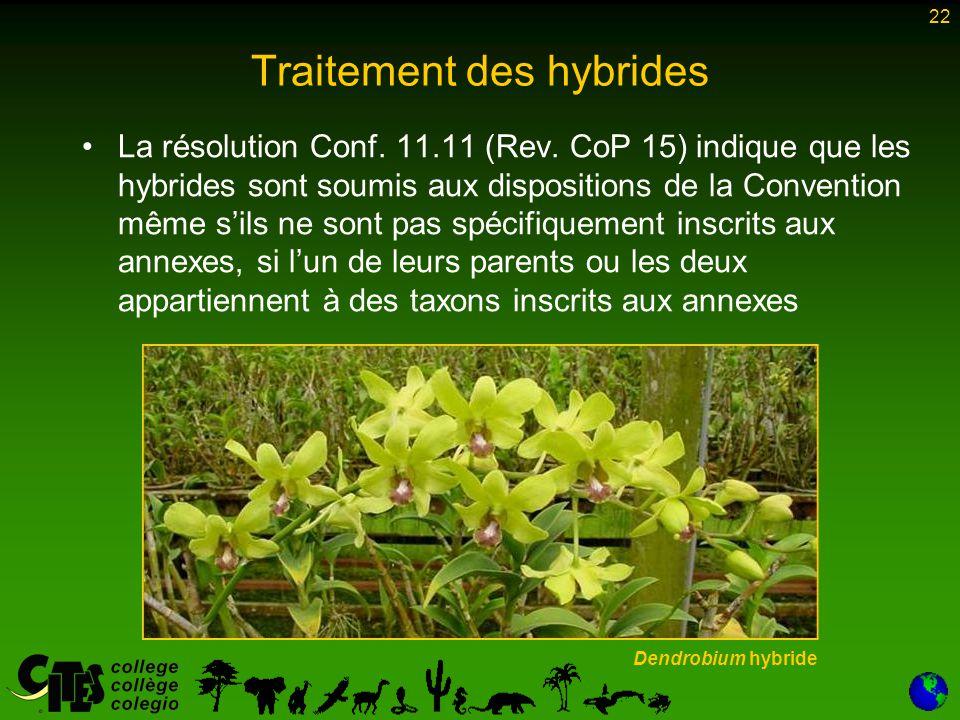 22 La résolution Conf. 11.11 (Rev. CoP 15) indique que les hybrides sont soumis aux dispositions de la Convention même s'ils ne sont pas spécifiquemen