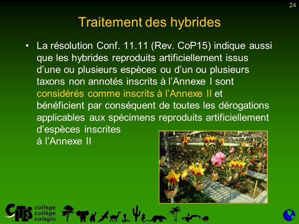 24 La résolution Conf. 11.11 (Rev. CoP15) indique aussi que les hybrides reproduits artificiellement issus d'une ou plusieurs espèces ou d'un ou plusi