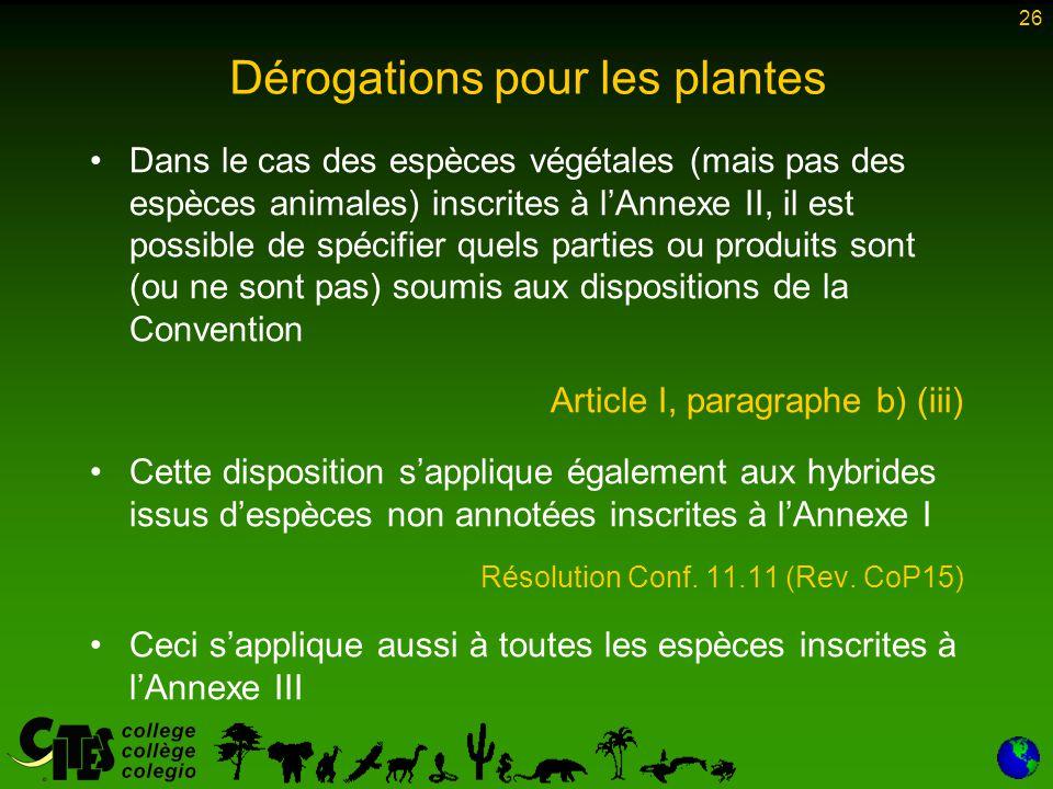 26 Dans le cas des espèces végétales (mais pas des espèces animales) inscrites à l'Annexe II, il est possible de spécifier quels parties ou produits s