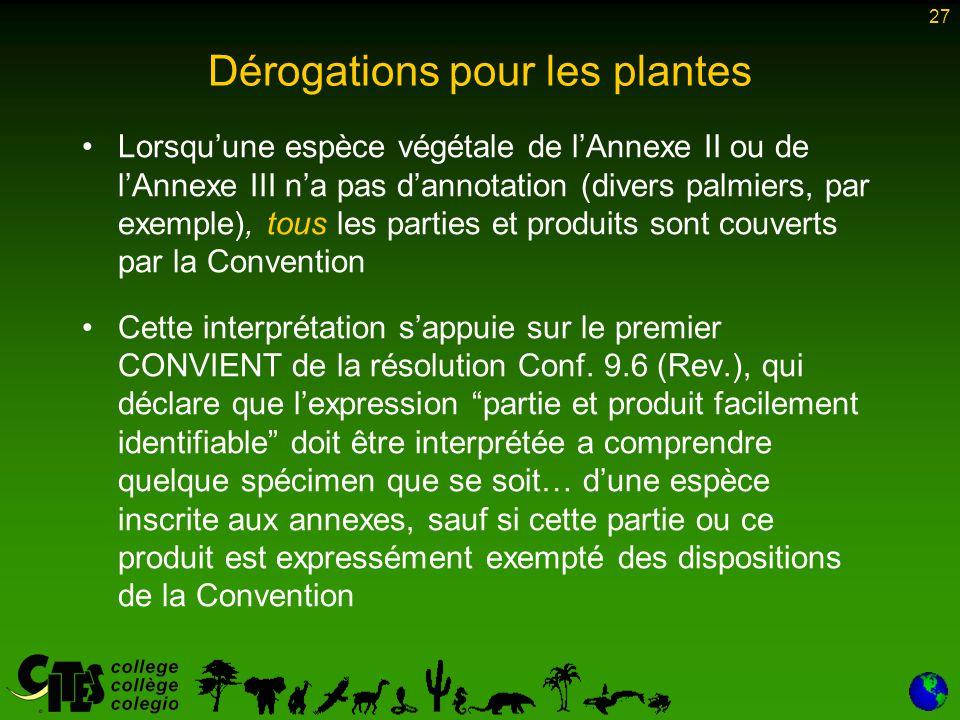 27 Dérogations pour les plantes Lorsqu'une espèce végétale de l'Annexe II ou de l'Annexe III n'a pas d'annotation (divers palmiers, par exemple), tous