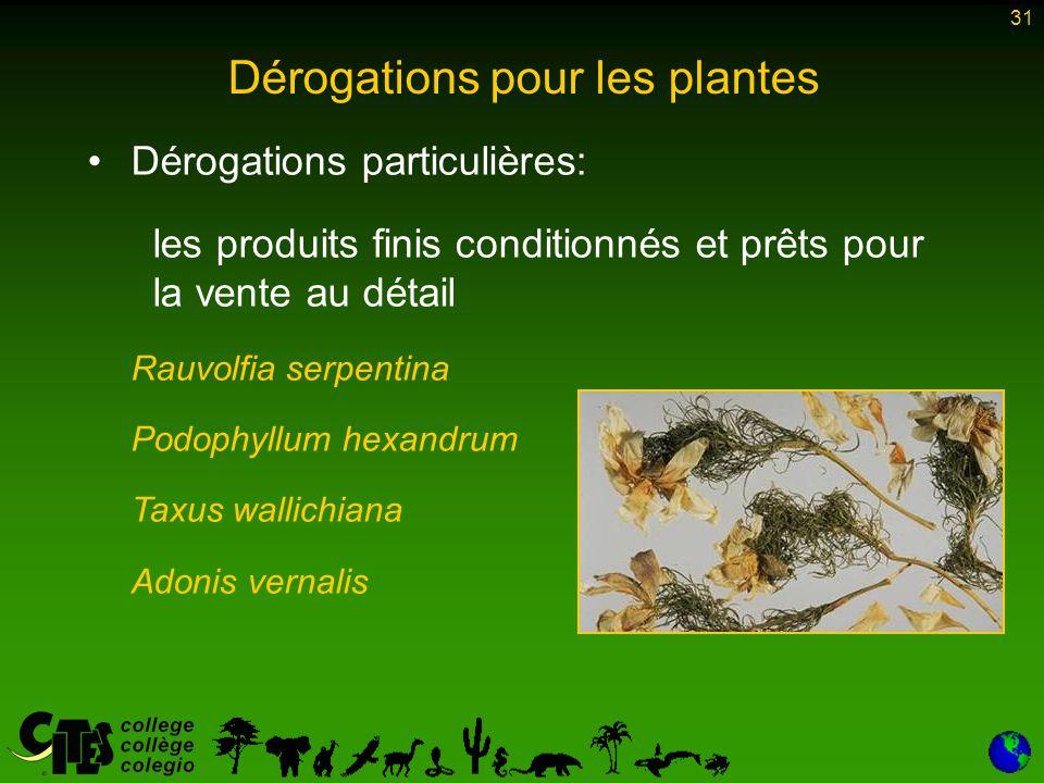 31 Dérogations particulières: les produits finis conditionnés et prêts pour la vente au détail Rauvolfia serpentina Podophyllum hexandrum Taxus wallic