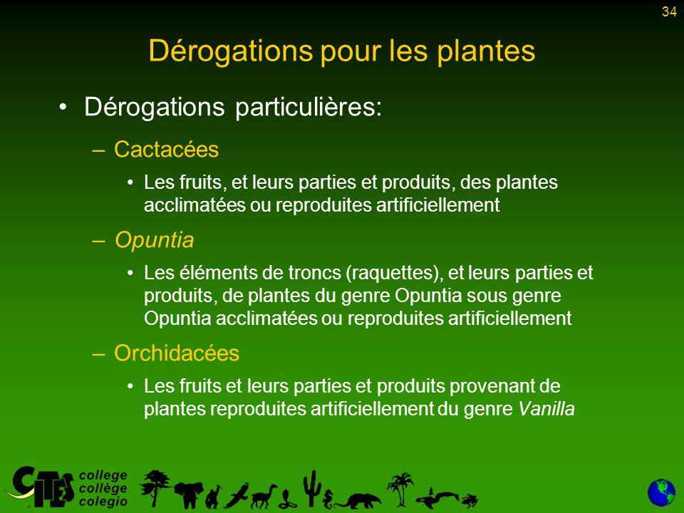 34 Dérogations pour les plantes Dérogations particulières: –Cactacées Les fruits, et leurs parties et produits, des plantes acclimatées ou reproduites