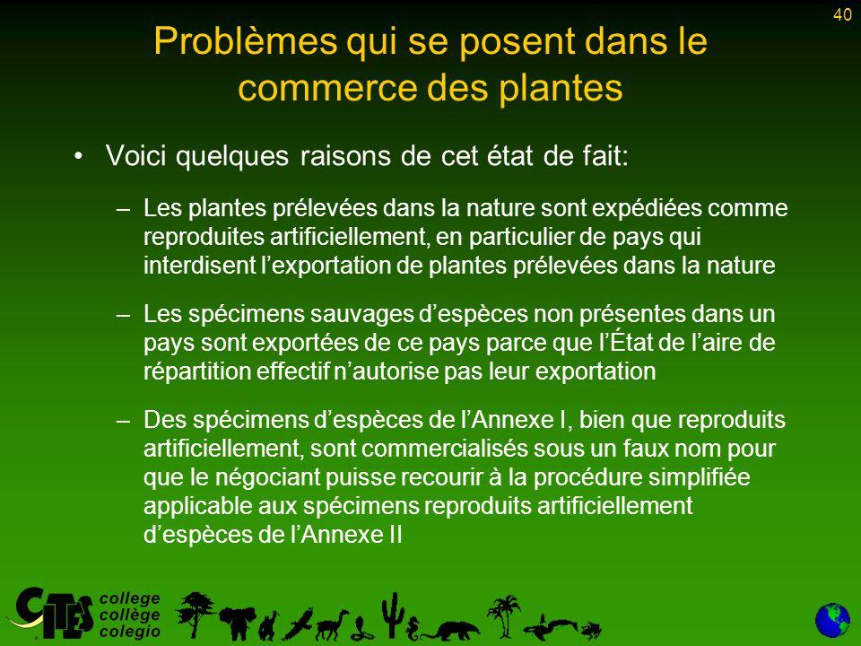40 Problèmes qui se posent dans le commerce des plantes Voici quelques raisons de cet état de fait: –Les plantes prélevées dans la nature sont expédié