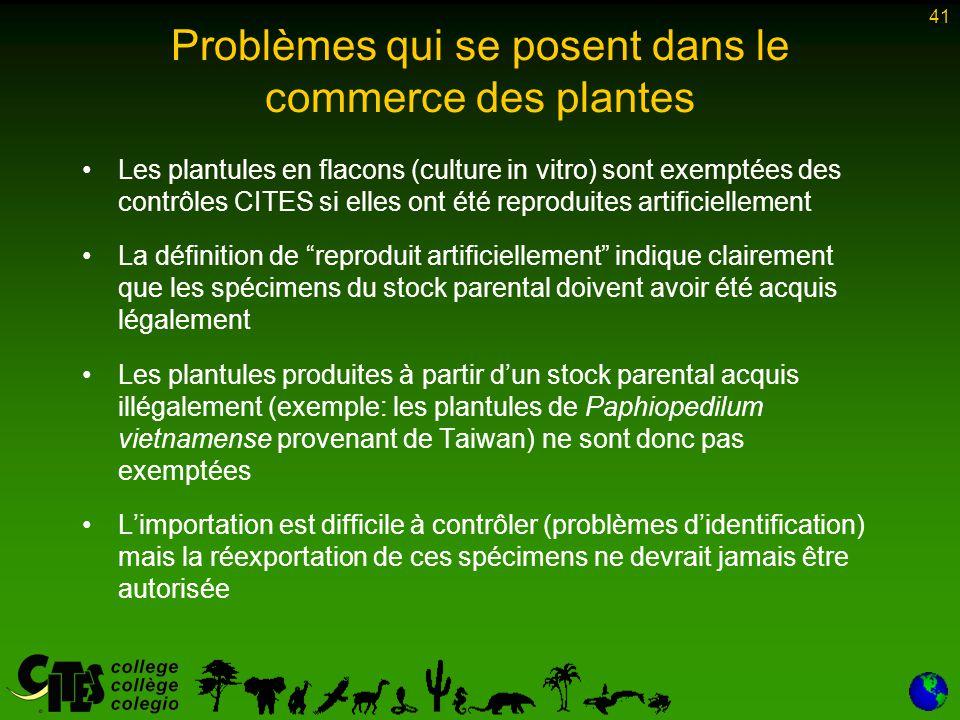 41 Problèmes qui se posent dans le commerce des plantes Les plantules en flacons (culture in vitro) sont exemptées des contrôles CITES si elles ont ét
