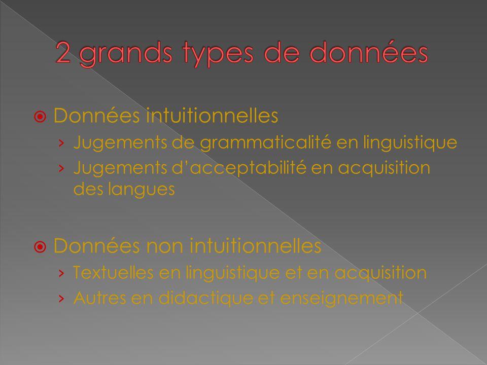  Données intuitionnelles › Jugements de grammaticalité en linguistique › Jugements d'acceptabilité en acquisition des langues  Données non intuition
