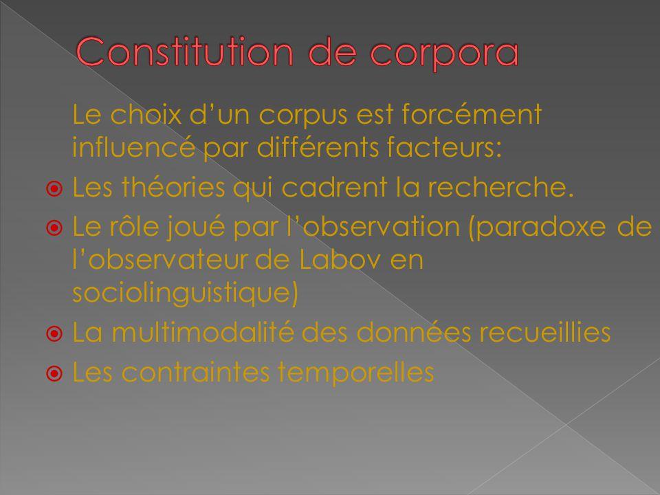 Le choix d'un corpus est forcément influencé par différents facteurs:  Les théories qui cadrent la recherche.  Le rôle joué par l'observation (parad
