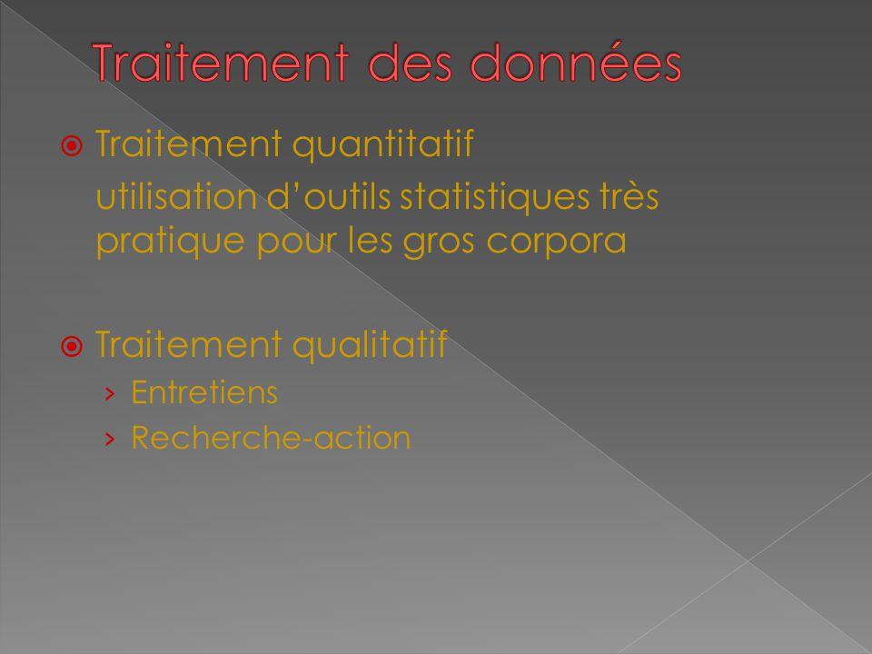  Traitement quantitatif utilisation d'outils statistiques très pratique pour les gros corpora  Traitement qualitatif › Entretiens › Recherche-action