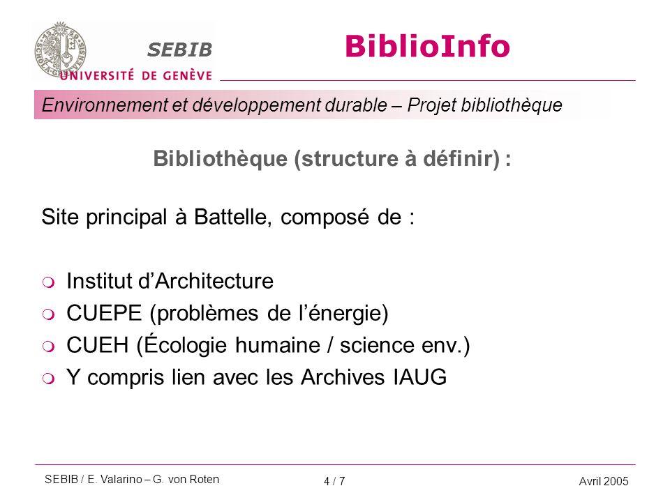 BiblioInfo SEBIB Environnement et développement durable – Projet bibliothèque Avril 20054 / 7 Bibliothèque (structure à définir) : Site principal à Battelle, composé de :  Institut d'Architecture  CUEPE (problèmes de l'énergie)  CUEH (Écologie humaine / science env.)  Y compris lien avec les Archives IAUG SEBIB / E.