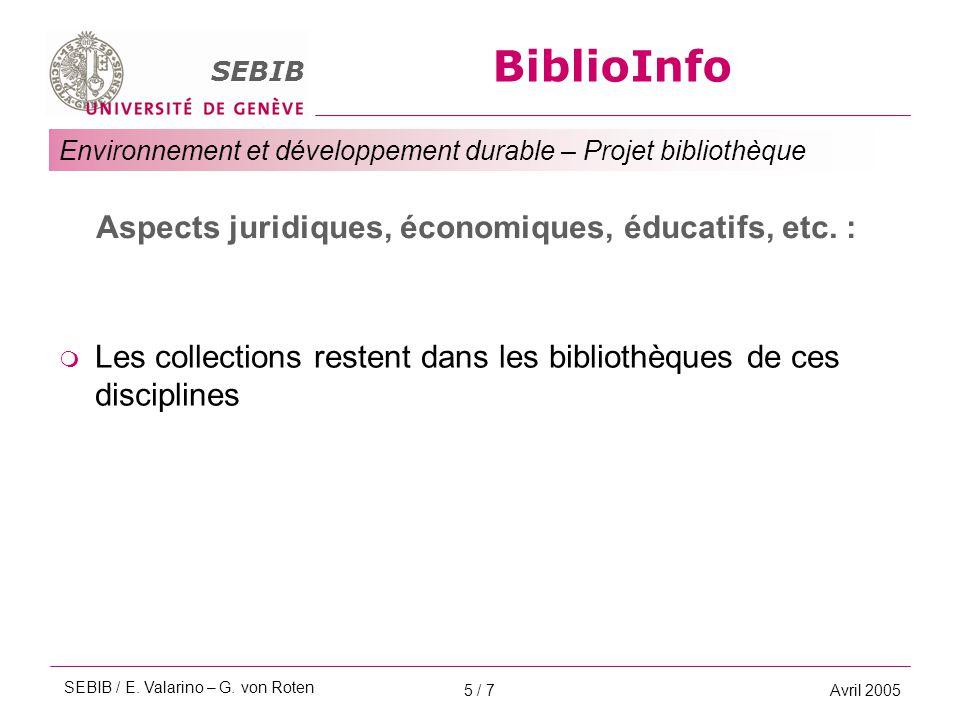 BiblioInfo SEBIB Environnement et développement durable – Projet bibliothèque Avril 20055 / 7 Aspects juridiques, économiques, éducatifs, etc. :  Les