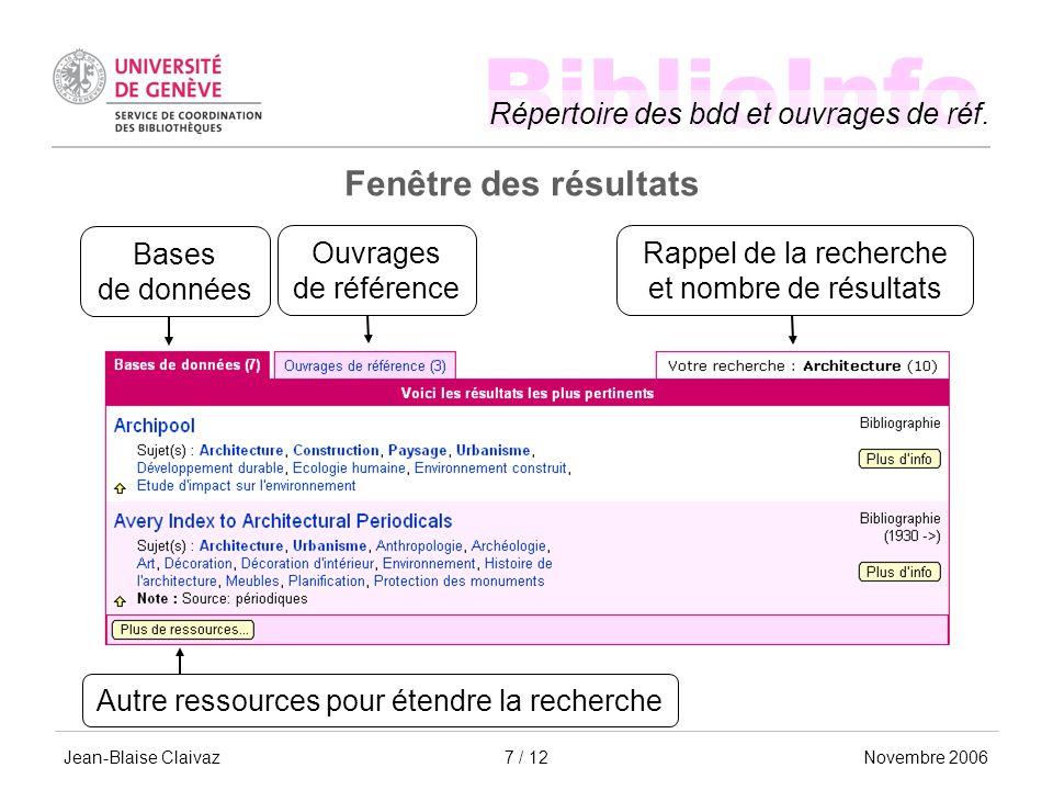 BiblioInfo Répertoire des bdd et ouvrages de réf.
