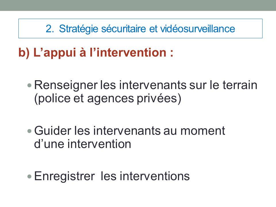 2. Stratégie sécuritaire et vidéosurveillance b) L'appui à l'intervention : Renseigner les intervenants sur le terrain (police et agences privées) Gui
