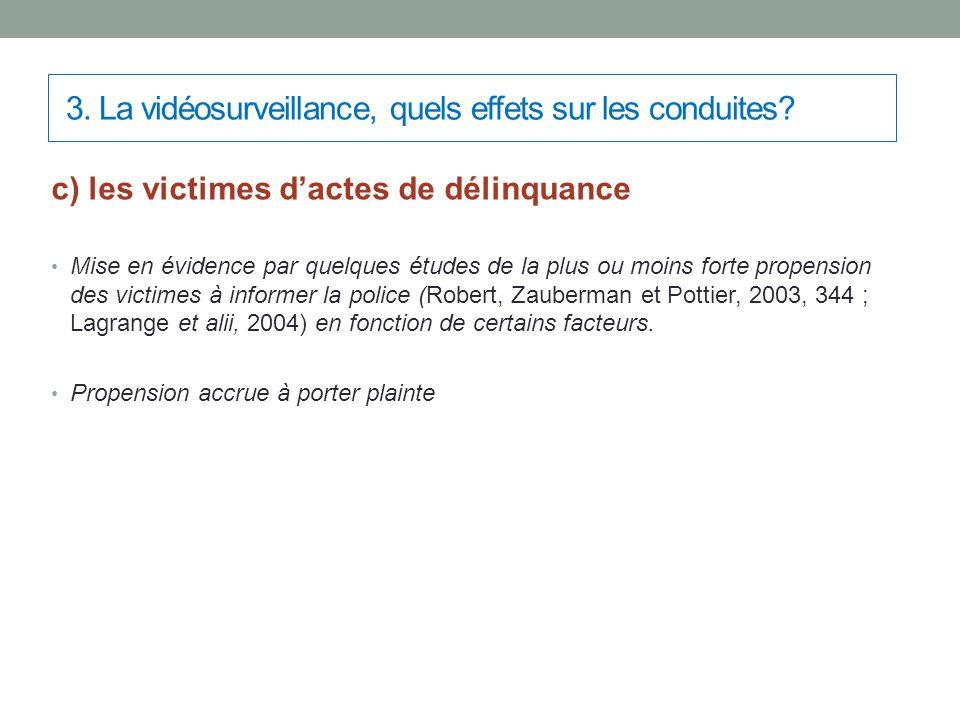 3. La vidéosurveillance, quels effets sur les conduites? c) les victimes d'actes de délinquance Mise en évidence par quelques études de la plus ou moi