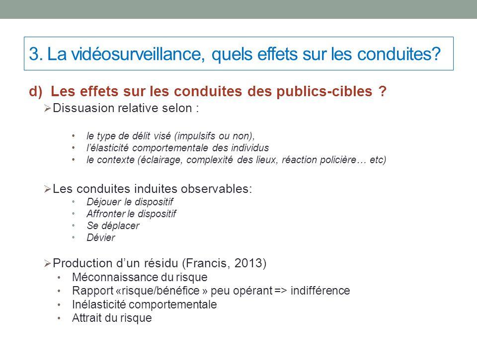 d) Les effets sur les conduites des publics-cibles ?  Dissuasion relative selon : le type de délit visé (impulsifs ou non), l'élasticité comportement