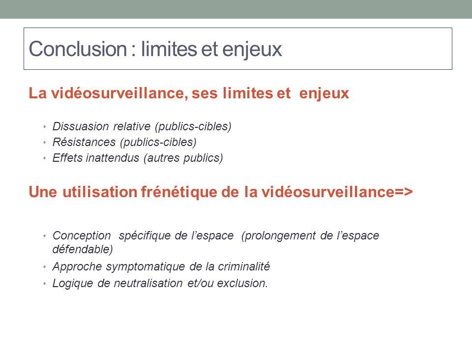 Conclusion : limites et enjeux La vidéosurveillance, ses limites et enjeux Dissuasion relative (publics-cibles) Résistances (publics-cibles) Effets in
