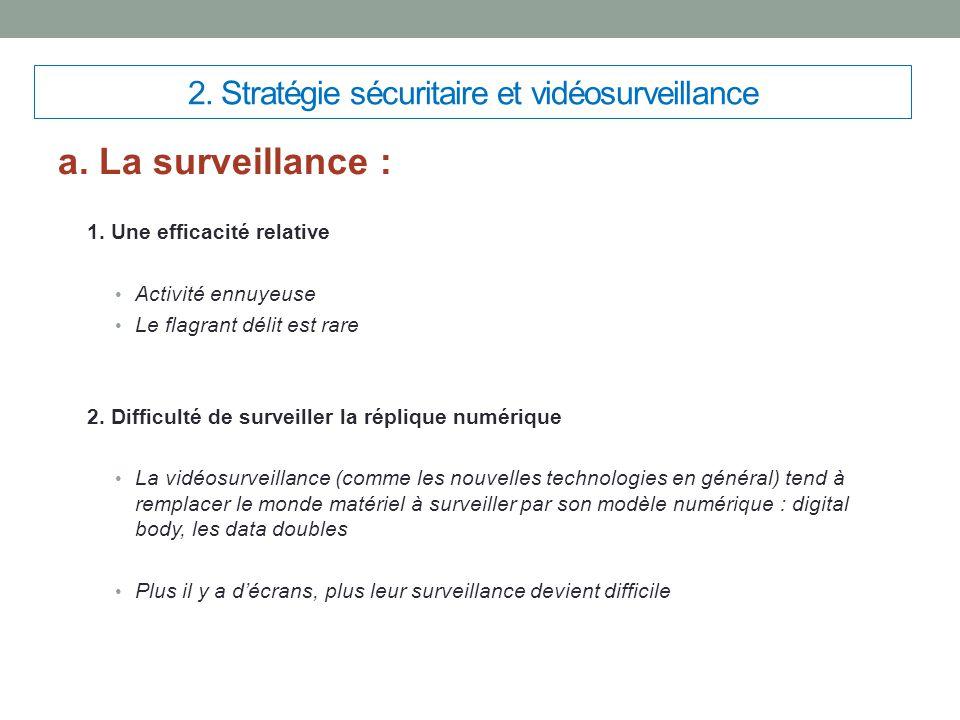 2. Stratégie sécuritaire et vidéosurveillance a. La surveillance : 1. Une efficacité relative Activité ennuyeuse Le flagrant délit est rare 2. Difficu