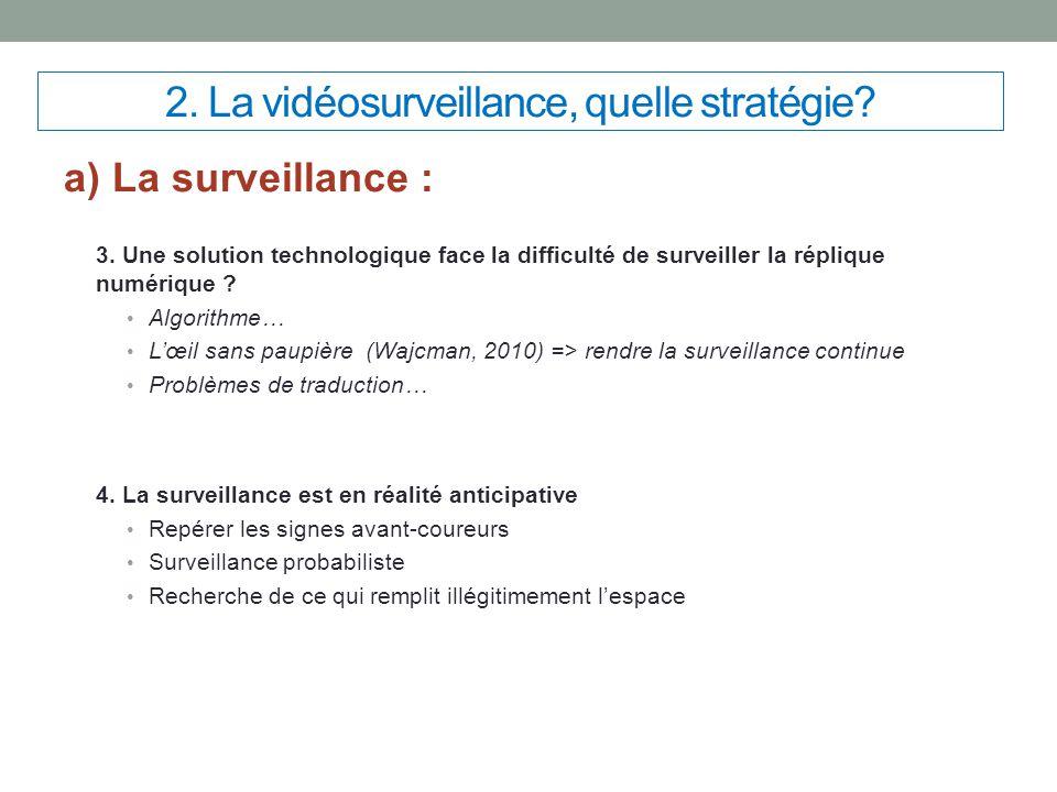 2. La vidéosurveillance, quelle stratégie? a) La surveillance : 3. Une solution technologique face la difficulté de surveiller la réplique numérique ?