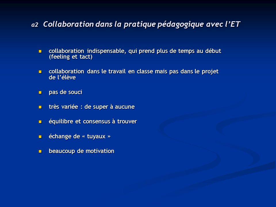 a2 Collaboration dans la pratique pédagogique avec l'ET collaboration indispensable, qui prend plus de temps au début (feeling et tact) collaboration