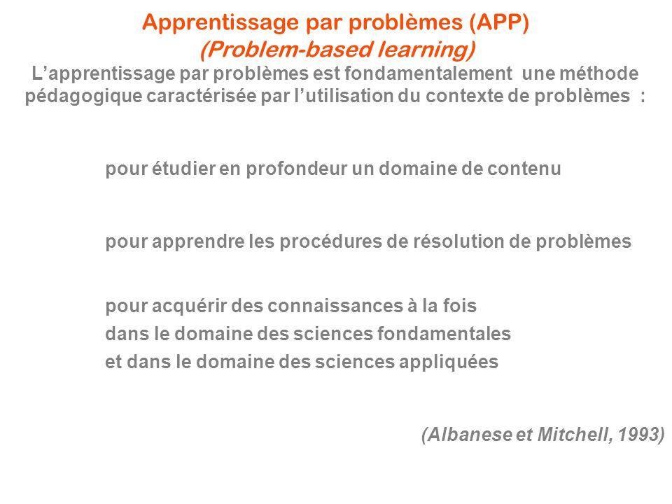 Apprentissage par problèmes (APP) (Problem-based learning) L'apprentissage par problèmes est fondamentalement une méthode pédagogique caractérisée par