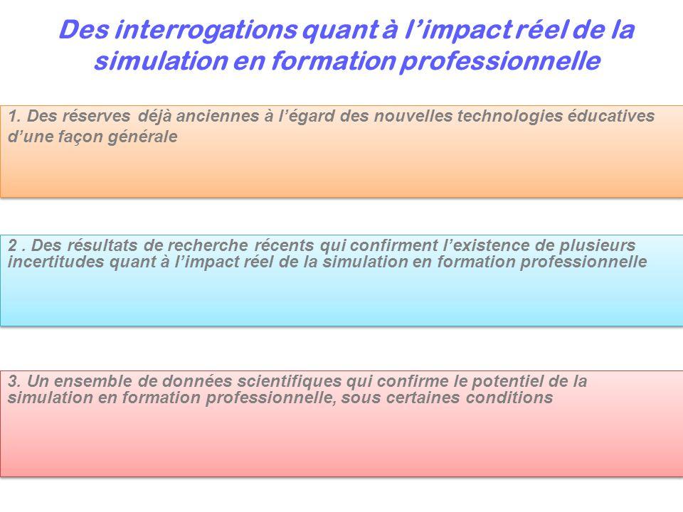 Des interrogations quant à l'impact réel de la simulation en formation professionnelle 2. Des résultats de recherche récents qui confirment l'existenc