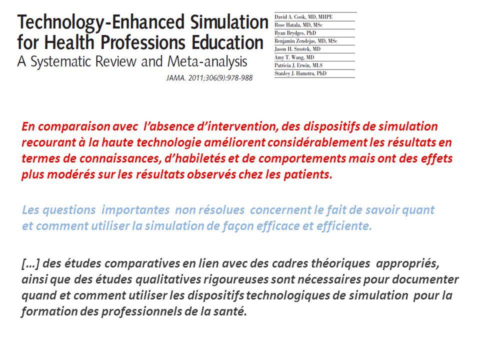 En comparaison avec l'absence d'intervention, des dispositifs de simulation recourant à la haute technologie améliorent considérablement les résultats