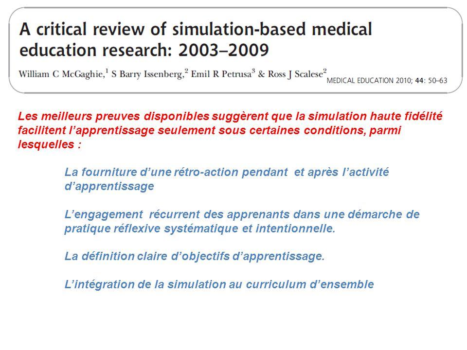 Les meilleurs preuves disponibles suggèrent que la simulation haute fidélité facilitent l'apprentissage seulement sous certaines conditions, parmi les